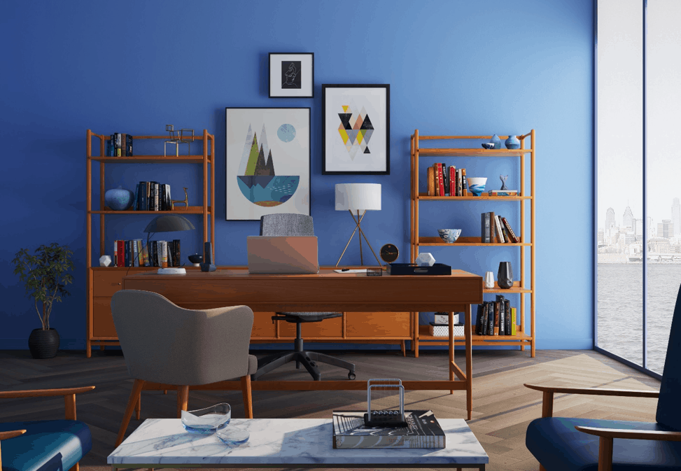 Home Office with Blue Background Wall - guest blog from Sofas by Saxon